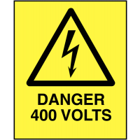 Long Lasting Danger 400 Volts Self-Adhesive Safety Labels