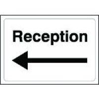 Reception' Sign with Left Arrow in Rigid Plastic or Vinyl
