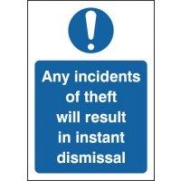 Anti-theft staff warning signs