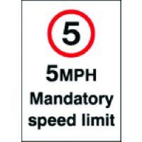 5 MPH Mandatory Speed Limit Sign in Vinyl or Rigid Plastic