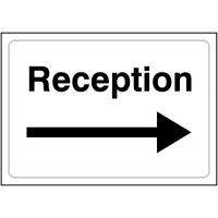 Rigid Plastic or Vinyl 'Reception' Sign with Right Arrow