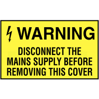 5 Pack of Self-Adhesive Warning Disconnect Mains Supply Safety Labels