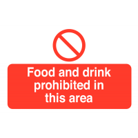 Food and Drink Prohibited In This Area' Destructible Tamper-Proof Safety Labels