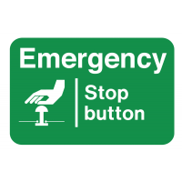 High Gloss Emergency Stop Button Destructible Safety Labels
