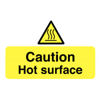Destructible adhesive hot surface safety labels