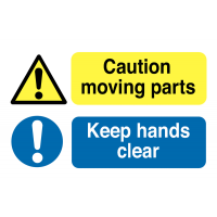 Destructible caution moving parts/hands clear machine safety labels