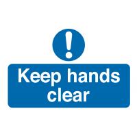 """Keep Hands Clear"" Destructible Safety Labels"
