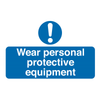 """Pack of 10 vinyl tamper-proof labels stating """"wear PPE"""""""
