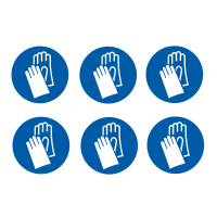 Self-adhesive labels with wear hand protection symbol