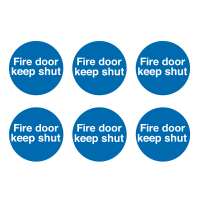 Fire Door Keep Shut' Blue Vinyl Safety Labels On a Sheet