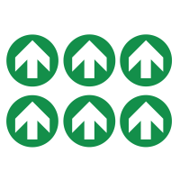 Vinyl Safety Labels On-a-Sheet - Green/White Arrow