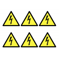 Beware Electricity Symbol Sheet of Vinyl Labels