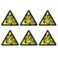 Beware Explosive Material Symbol Vinyl Labels on a Sheet