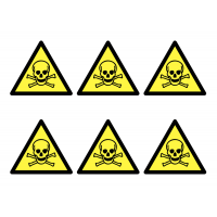 Toxic Materials Vinyl Warning Stickers