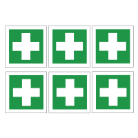 Square 'first aid symbol' self-adhesive vinyl label sheets