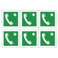 First Aid Telephone Symbol Sheet Self-Adhesive Vinyl Labels