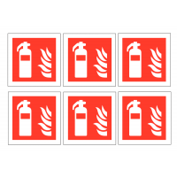 Fire Extinguisher Symbol Vinyl Labels (Pack of 30)