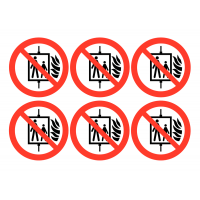 Self-Adhesive Vinyl 'Do Not Use Lift in a Fire' Symbol Labels