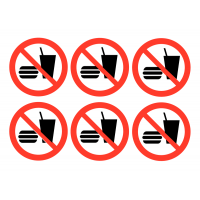 No Food or Drink Symbol Self-Adhesive Vinyl Labels