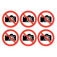 Flexible No Photography Vinyl Safety Labels on a Sheet