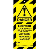 Durable safety lockout tags for machinery repair periods