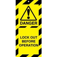 Highly Visible Polyester 'Danger – Lock Out Before Operation' Tags