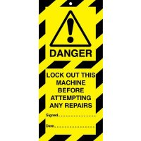 Highly-Visible Lock Out Before Attempting Any Repairs - Lockout Tags
