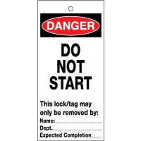 Danger – Do Not Start' Polyester Lockout Tags for Faulty Machinery