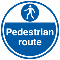 Pedestrian route signs for floors in anti-slip material