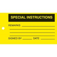 Special Instructions, Remarks, Signed By, Date' Heavy Duty Vinyl Equipment Control Tags
