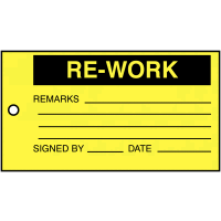 Material Control Tags – Rework – Remarks, Signed By, Date