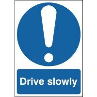 Weather-resistant aluminium 'drive slowly' sign