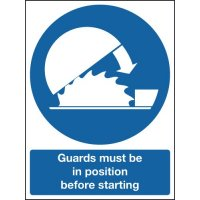Magnetic Vinyl 'Guards Must Be In Position Before Starting' Sign