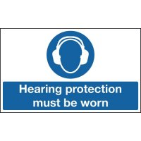 Hearing protection must be worn floor sign with anti-slip surface