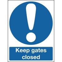 Keep gates closed warning sign