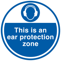 Ear Protection Zone Floor Signs in Self-Adhesive Anti-Slip Materials