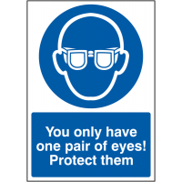 You Only Have One Pair Of Eyes! Protect Them' Sign with Choice of Materials