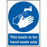 Plastic 'This Basin Is For Hand Wash Only' Information Sign