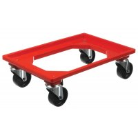 Wheeled plastic carrier for stacking/nesting containers