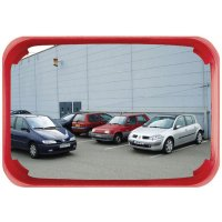 Extremely Durable Red-Framed Rectangular Traffic and Security Mirror