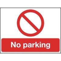 Reflective Rigid Plastic 'No Parking' Sign with Prohibition Symbol