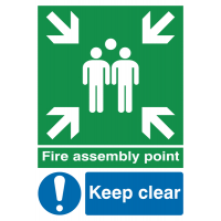 Fire Assembly This Way' with Right Arrow Aluminium Signs