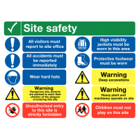 10 Fully Waterproof and Rigid Site Safety Multi-message Signs