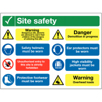8-in-1 site safety sign with multiple messages