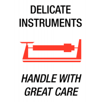 Clear 'Delicate Instruments Handle With Great Care' Labels