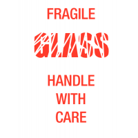 Fragile Glass Handle With Care' Self-Adhesive Paper Shipping Labels