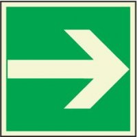 Glow-in-the-dark escape route floor signs