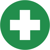 Self-adhesive circular first aid symbol safety labels on a sheet