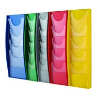 Coloured plastic wall-mounted leaflet holders