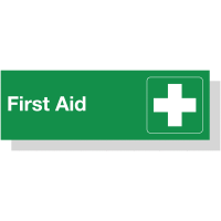 Lightweight Laser Engraved Acrylic 'First Aid Sign' with Symbol